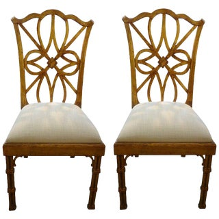 Chinese Chippendale Style Gilt Wood Chairs - a Pair