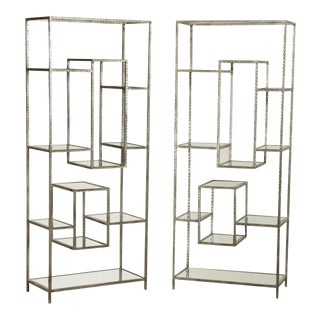 Nakasa Iron and Mirrored Pair Geometric Bookcases, Etageres For Sale