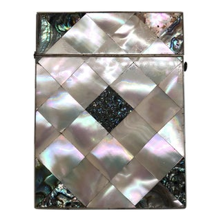 19th Century English Victorian Mother of Pearl Card Case For Sale