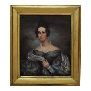 19th Century Portrait Lady Woman American School Oil Painting on Canvas For Sale