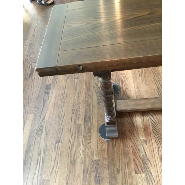 Brown Ethan Allen Jacobean Barley Twist Expanding Banquet Dining Room Trestle Table For Sale - Image 8 of 9