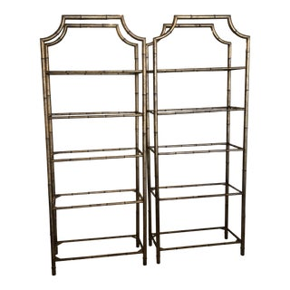 Vintage Chinoiserie Pagoda Faux Bamboo Metal Glass Shelves Etageres - a Pair For Sale