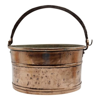 Antique French Copper Pot With Iron Swing Handle For Sale