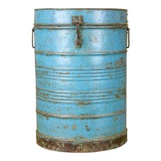 Blue Wheat Grain Metal Jodhpuri Drum Container For Sale