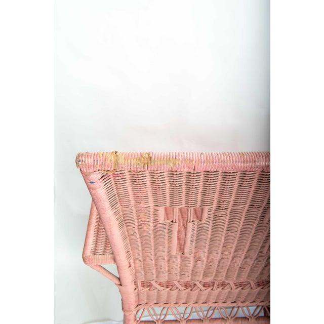 Boho Chic 1950s Boho Chic Pink Rattan Settee or Love Seat For Sale - Image 3 of 11