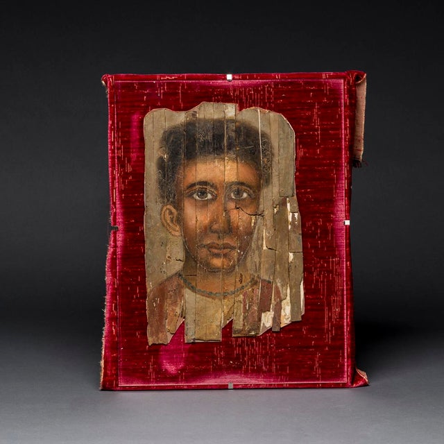 Portraiture Roman Period Egyptian Mummy Portrait Depicting a Young Man For Sale - Image 3 of 3