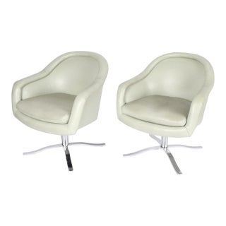 1970s Vintage Swivel Arm Chairs - A Pair For Sale