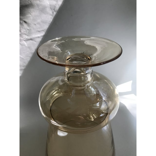 Large Footed Amber Glass Vase For Sale In Charlotte - Image 6 of 7