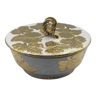 Covered White & Gold Ceramic Dish