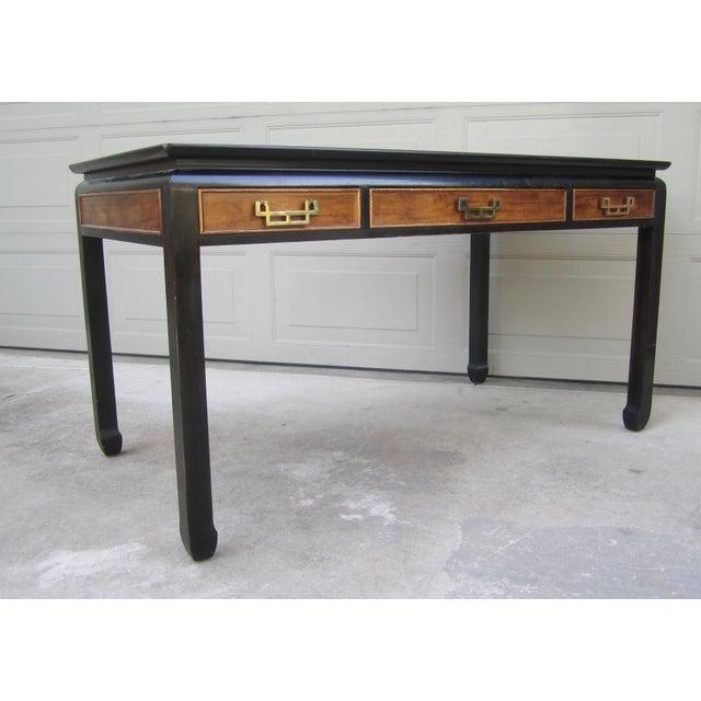 Raymond Sobota Raymond Sobota Century Furniture Burl Wood Black Lacquer Writing Desk For Sale - Image 4 of 12