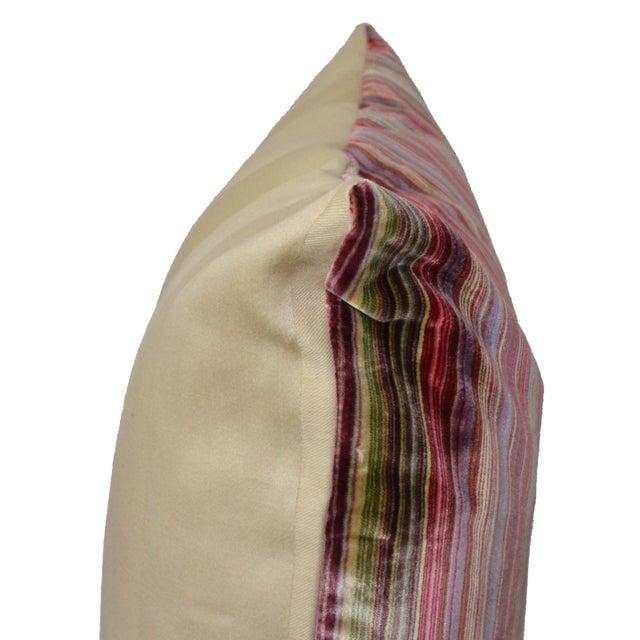 Cotton Scalamandré 100% Silk Velvet Rainbow Stripe Pillow For Sale - Image 7 of 10