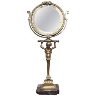 Bronze Table Mirror with a Caryatid For Sale