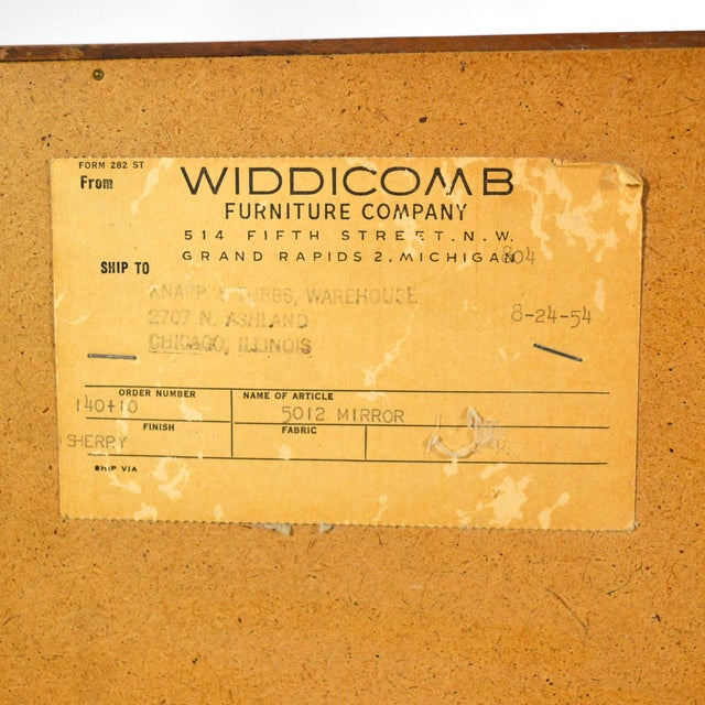 t.h. Robsjohn-Gibbings Mirror by Widdicomb For Sale - Image 9 of 10
