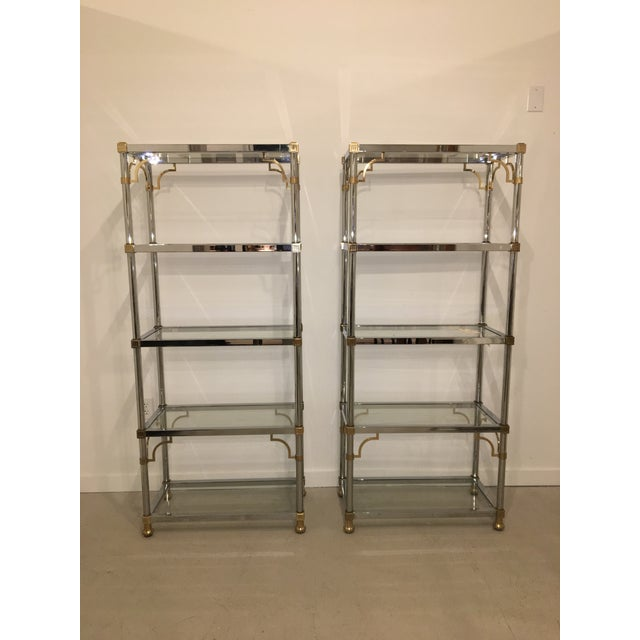 Pair of Brass and Chrome Etageres For Sale - Image 11 of 11