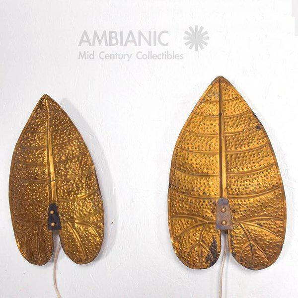 For your consideration a pair of leaves wall sconces in brass in the style of Tommaso Barbi. Sconces had been rewired and...