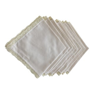 1940s Shabby Chic Embroidered Table Napkins - Set of 8 For Sale
