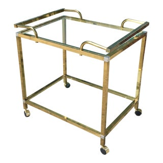 Vintage Brass Bar Cart For Sale