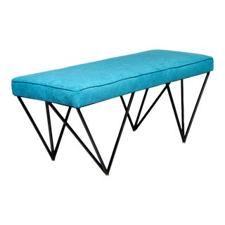 Italian Mid Century Style Bench With Teal Fabric and Black Metal Legs For Sale
