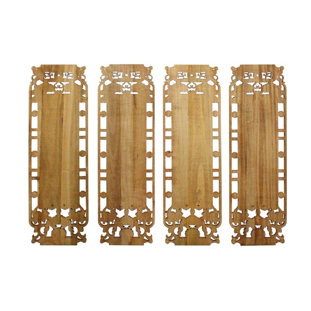 Asian Chinese Set of 4 Rectangular Four Beauties Wooden Wall Plaque Panels For Sale - Image 3 of 8