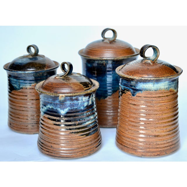 Mid-Century Modern Vintage Mid Century Stoneware Pottery Canister- Set of 4 For Sale - Image 3 of 8