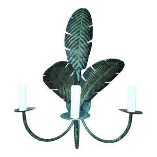 Palm Beach Regency 3 Leaf 2 Light Banana Green Metal Wall Sconce Light Fixture For Sale