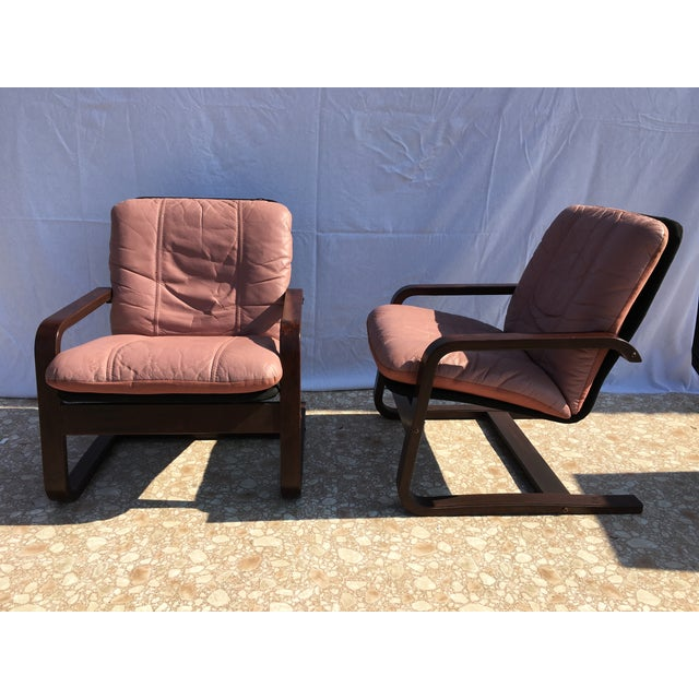 Blush Mid-Century Bentwood Leather Chairs - A Pair - Image 5 of 10