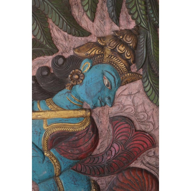 "Asian Vintage Krishna Fluting ""Balancing Our Chakras"" Sculptural Door Panel For Sale - Image 3 of 4"