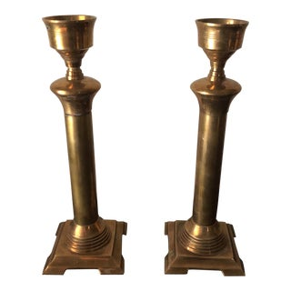 Neoclassical Bronze Candle Holders - a Pair