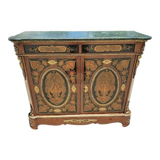 French Louis XV Style Mounted Gilt Bronze with Marble Top Dry Bar Cabinet For Sale