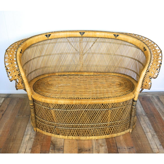 """Wood 1970s """"Peacock Chair"""" Loveseat For Sale - Image 7 of 7"""