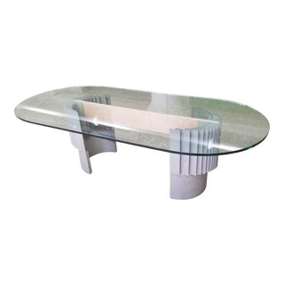 Giovanni Offredi Desk/ Dining Table in Aluminum, Lacquered Wood and Glass Plate, Ca. 1975 Final Price For Sale