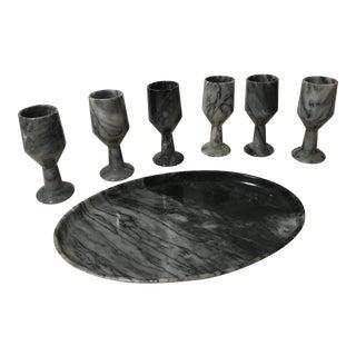 Vintage Black Onyx Cordial Set - 7 Pc. Set