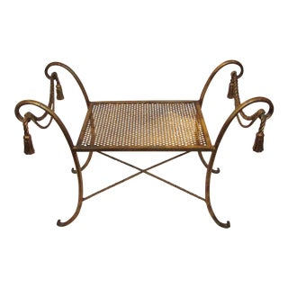 Gold Gilt Rope & Tassel Metal Bench