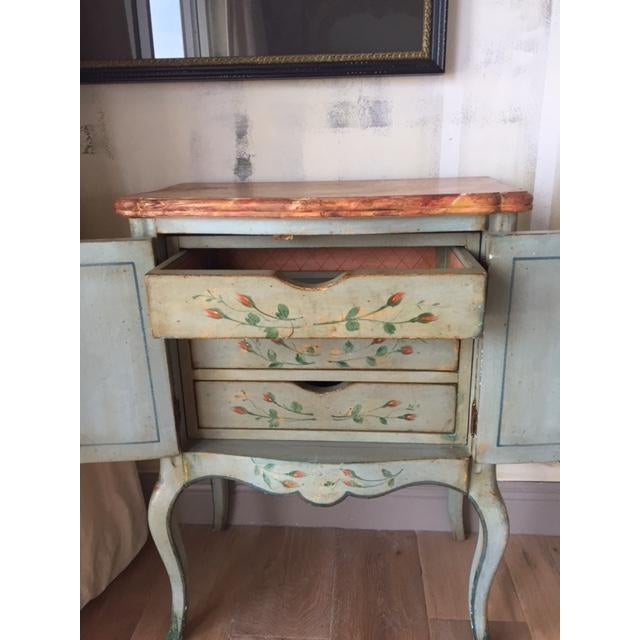 Vintage Comodino Rustic Floral Side Table For Sale In Tampa - Image 6 of 10