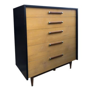 Striking Ebony and Blonde Tallboy by American and Martinsville For Sale