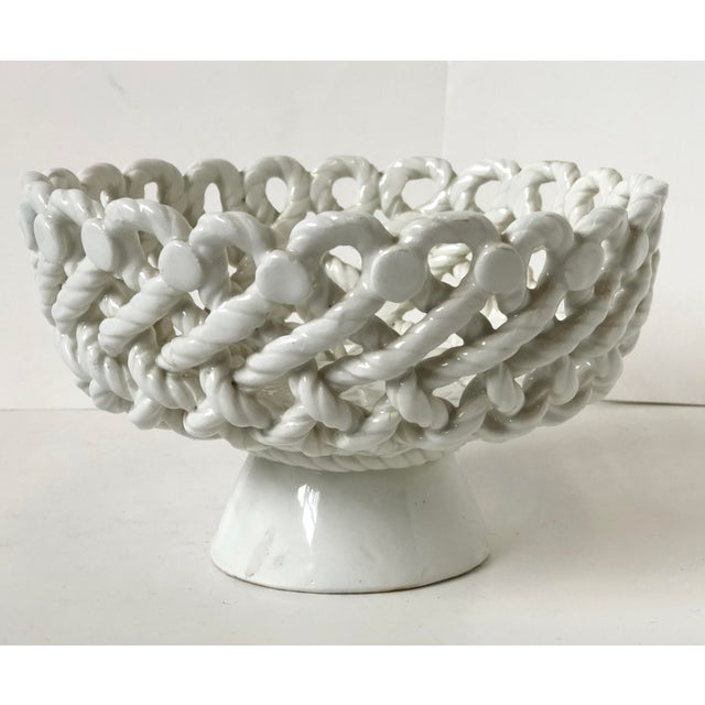Mid 20th Century Italian Woven Rope White Ceramic Compote For Sale - Image 5 of 12
