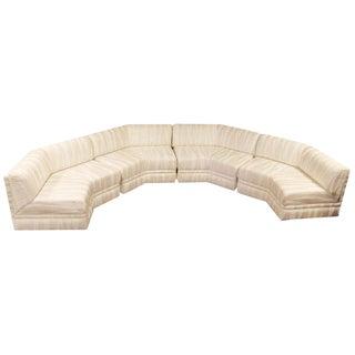 Mid-Century Modern Four-Piece White Octagon Sectional Sofa Baughman, 1970s