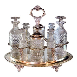 Early 19th Century Antique Sterling Silver George III Cruet Set - 17 Pieces For Sale