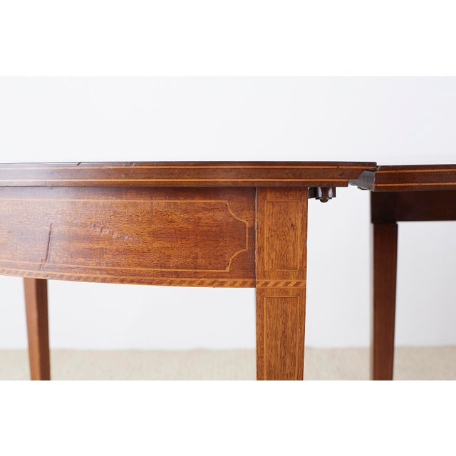 American Hepplewhite Style Demilune Console Tables - a Pair For Sale - Image 11 of 13
