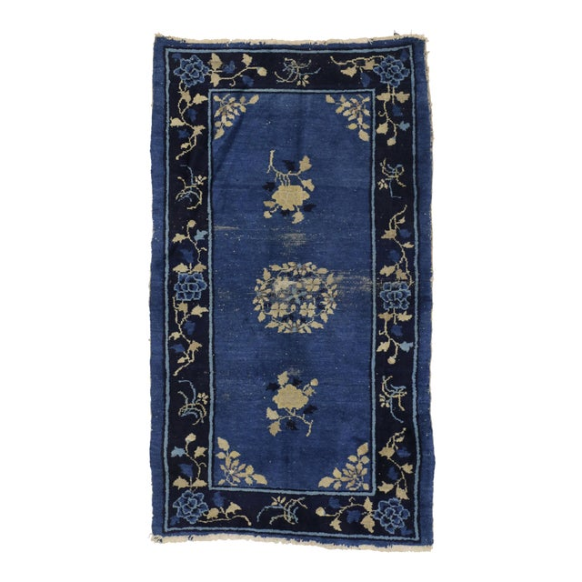Early 20th Century Antique Blue Chinese Art Deco Rug For Sale