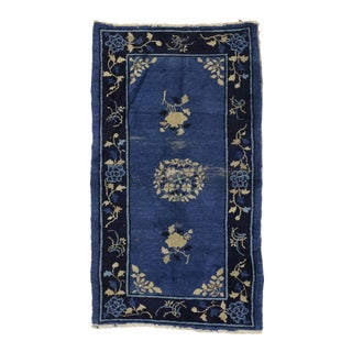 "Early 20th Century Antique Blue Chinese Peking Rug With Chinoiserie Style - 03'02""x05'06"" For Sale"