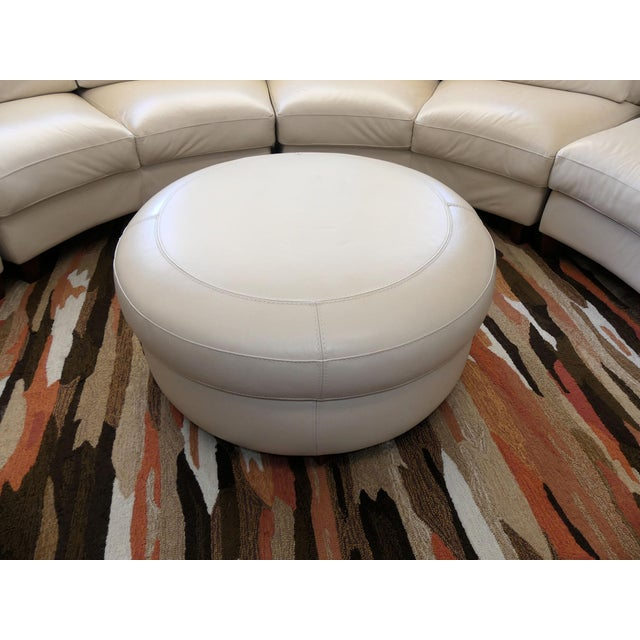 Bloomingdale's Chateau d'Ax Italian Leather Sectional Sofa With Ottoman For Sale In Miami - Image 6 of 12