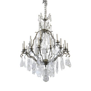 Vintage Silver with Glass Crystals 20 Light Chandelier