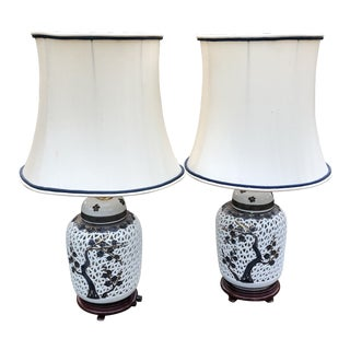 Cherry Blossoms Porcelain Blanc De Chine Pierced Ginger Jar Lamps - a Pair For Sale