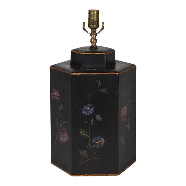 Vintage English Export Floral Style Tea Caddy Lamp For Sale