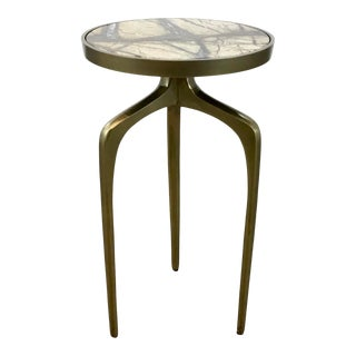Regina Andrew Modern Marble and Brass Finished Accent Table For Sale