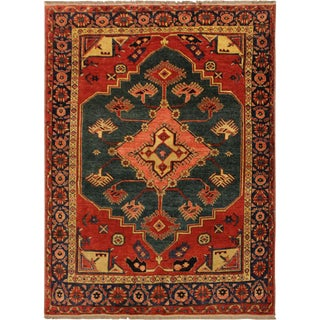Southwestern Semi-Antique Kargahi Tawanda Green/Blue Wool Rug - 5'7 X 6'3 For Sale