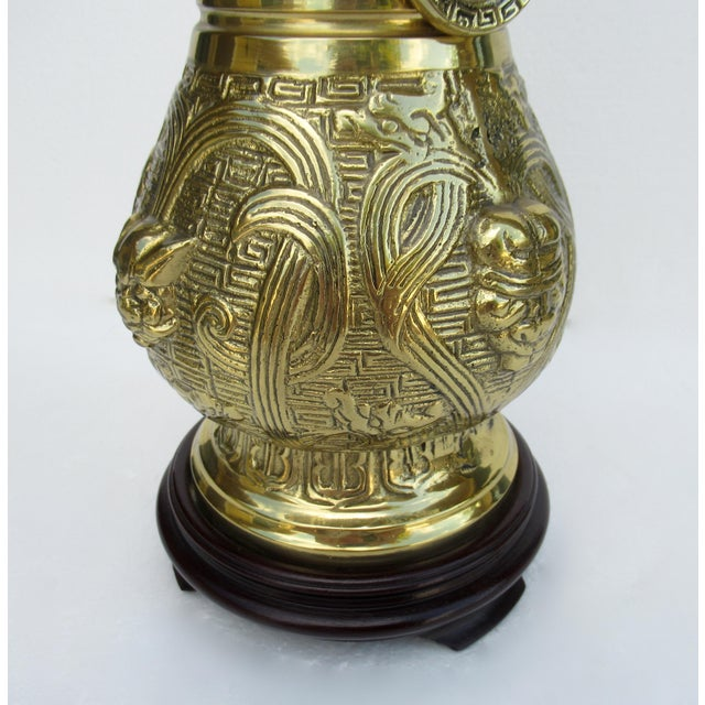 C1950s-70s Hollywood Regency Era, James Mont-Style Asian Antique Bronze Lamp For Sale - Image 11 of 13