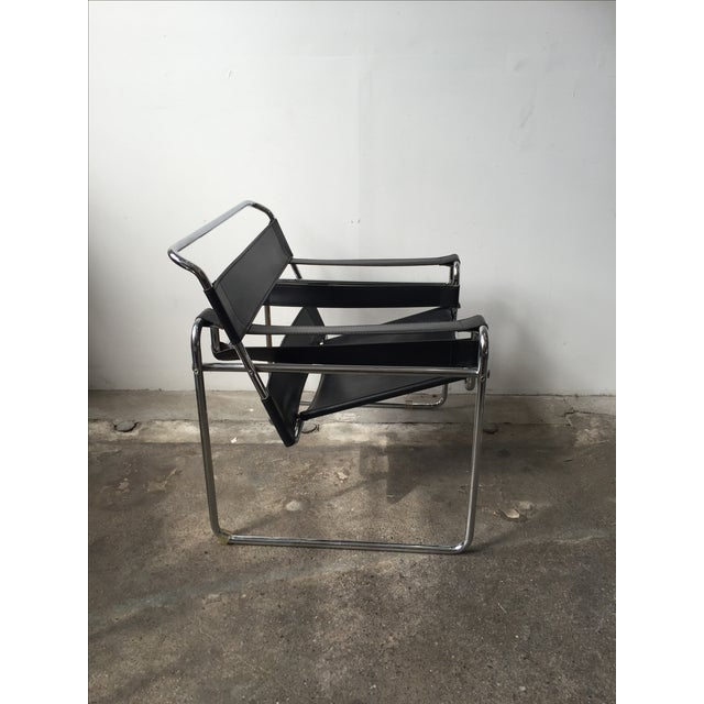 Wassily Style Chrome & Black Leather Chairs - Pair - Image 5 of 11