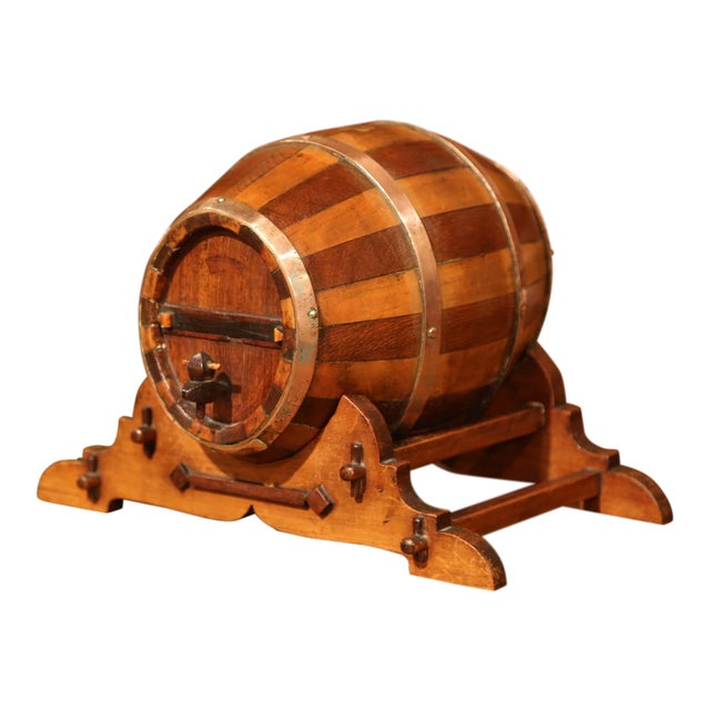 Early 20th Century French Carved Fruitwood and Brass Cognac Barrel on Stand For Sale